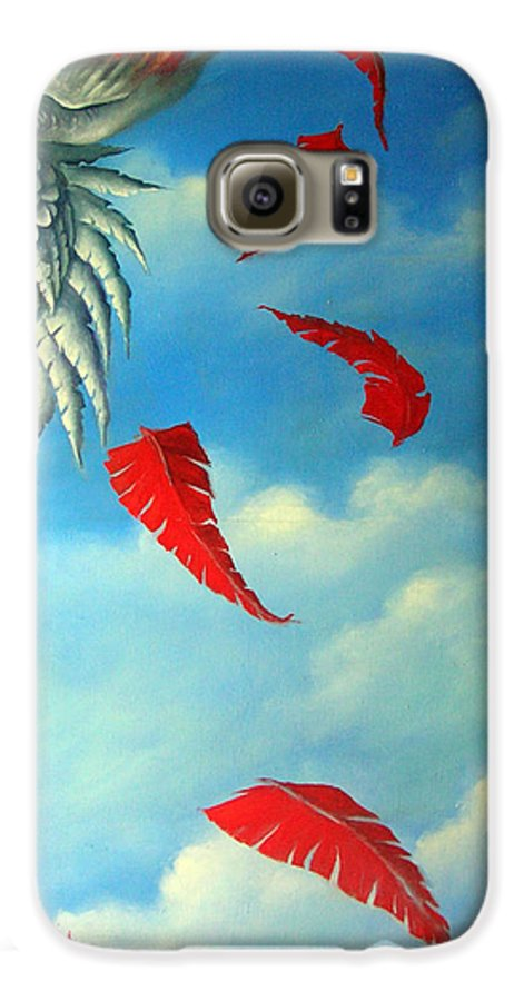 Surreal Galaxy S6 Case featuring the painting Bird On Fire by Valerie Vescovi