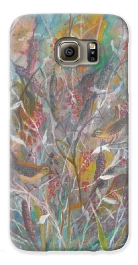 Birds Galaxy S6 Case featuring the painting Birds In A Bush by Ben Kiger