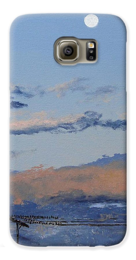 Landscape Galaxy S6 Case featuring the painting Birds On A Wire by Barbara Andolsek