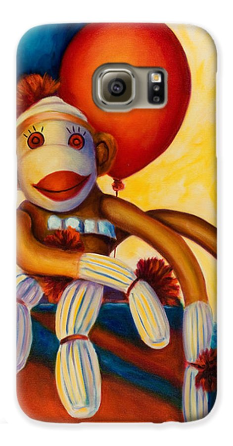 Sock Monkey Brown Galaxy S6 Case featuring the painting Birthday Made Of Sockies by Shannon Grissom