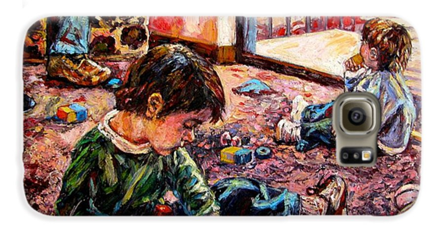 Figure Galaxy S6 Case featuring the painting Birthday Party Or A Childs View by Kendall Kessler