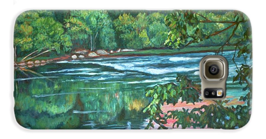 River Galaxy S6 Case featuring the painting Bisset Park Rapids by Kendall Kessler