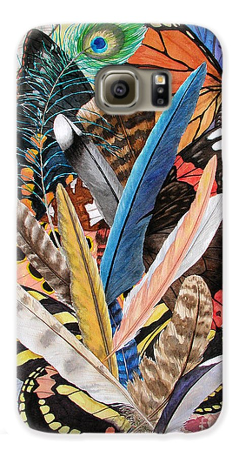 Feathers Galaxy S6 Case featuring the painting Bits Of Flight by Lucy Arnold