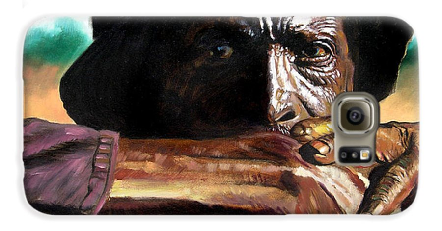 Black Farmer Galaxy S6 Case featuring the painting Black Farmer by John Lautermilch