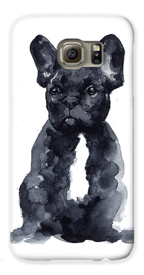 French Bulldog Galaxy S6 Case featuring the painting Black French Bulldog Watercolor Poster by Joanna Szmerdt