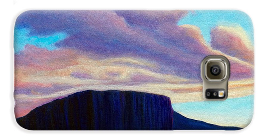 Landscape Galaxy S6 Case featuring the painting Black Mesa Sunset by Brian Commerford