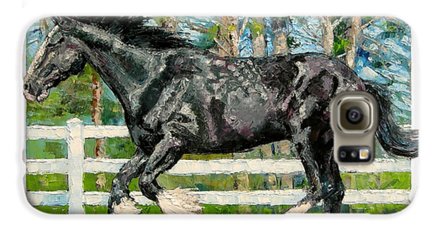 Horse Galaxy S6 Case featuring the painting Black Power by John Lautermilch