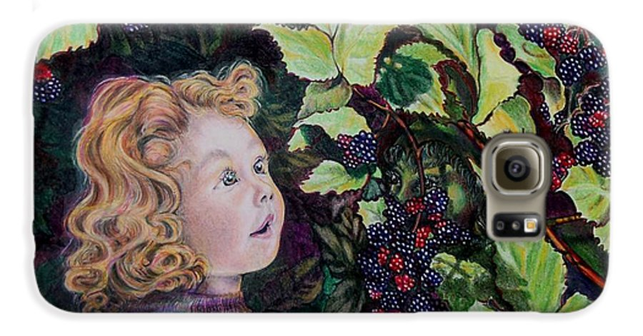 Blackberry Galaxy S6 Case featuring the drawing Blackberry Elf by Susan Moore