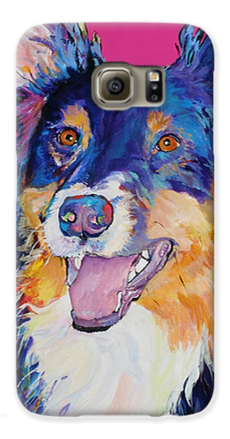Dog Galaxy S6 Case featuring the painting Blackjack by Pat Saunders-White