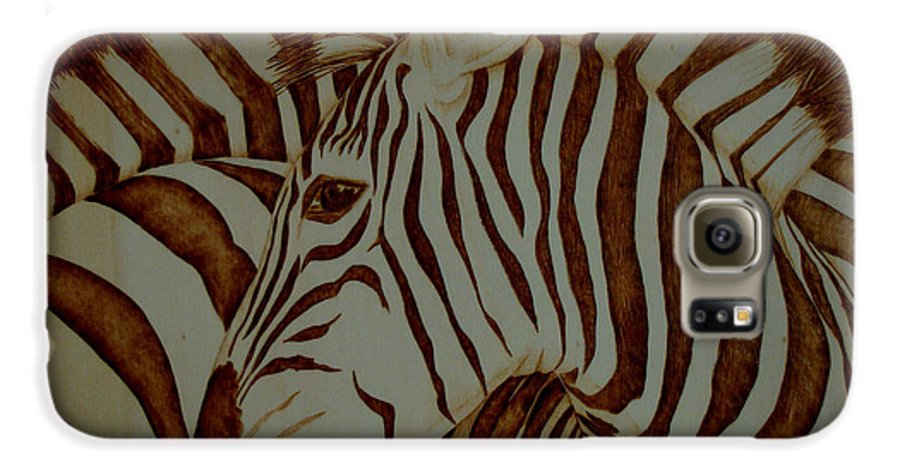Pyrography; Woodburning; Sepia; Zebra; Stripes; Wild Life; Africa; Horse; Herd; Galaxy S6 Case featuring the pyrography Blending In by Jo Schwartz