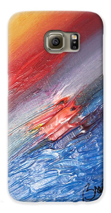 Abstract Galaxy S6 Case featuring the painting Bliss - D by Brenda Basham Dothage