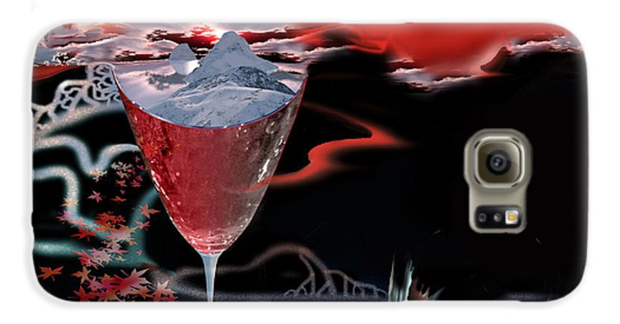 Blood Galaxy S6 Case featuring the digital art Blood Red From Pure White by Jennifer Kathleen Phillips
