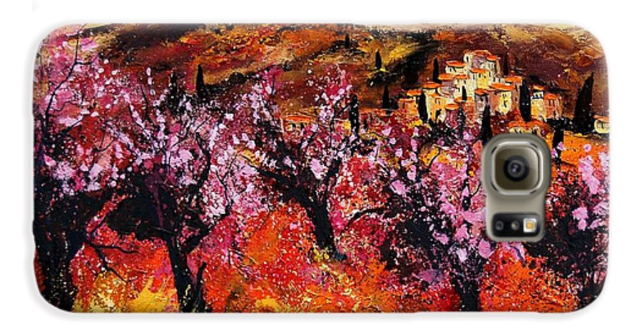 Provence Cherrytree Summer Spring Galaxy S6 Case featuring the painting Blooming Cherry Trees by Pol Ledent