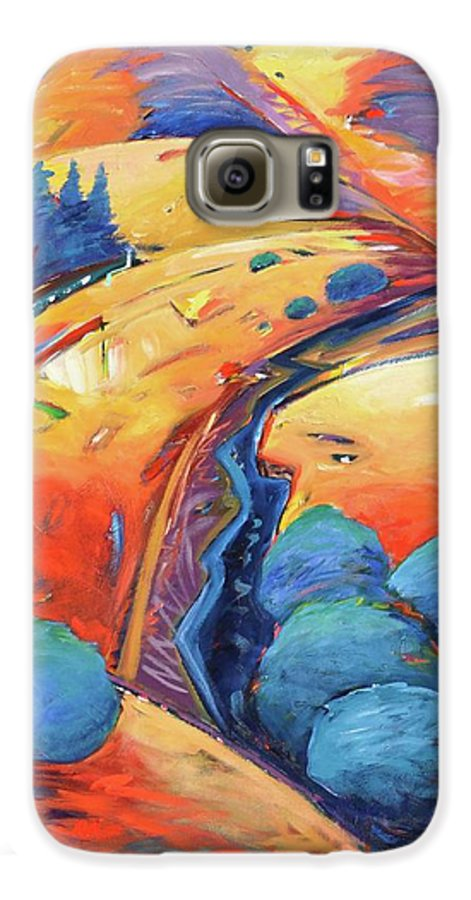 Hills Galaxy S6 Case featuring the painting Blue And Gold by Gary Coleman