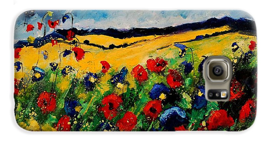 Poppies Galaxy S6 Case featuring the painting Blue And Red Poppies 45 by Pol Ledent