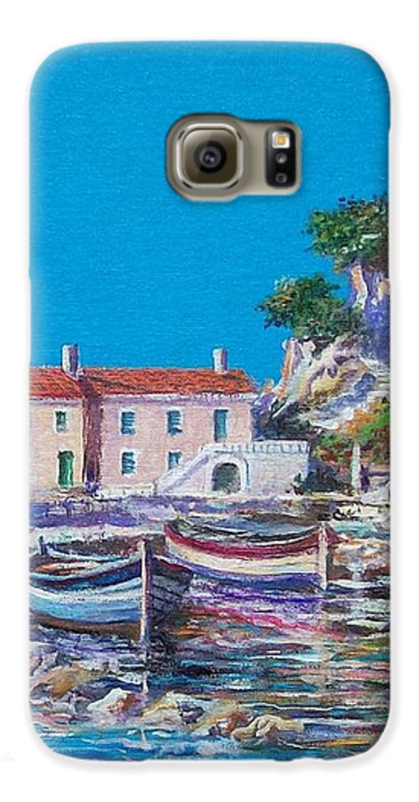 Original Painting Galaxy S6 Case featuring the painting Blue Bay by Sinisa Saratlic