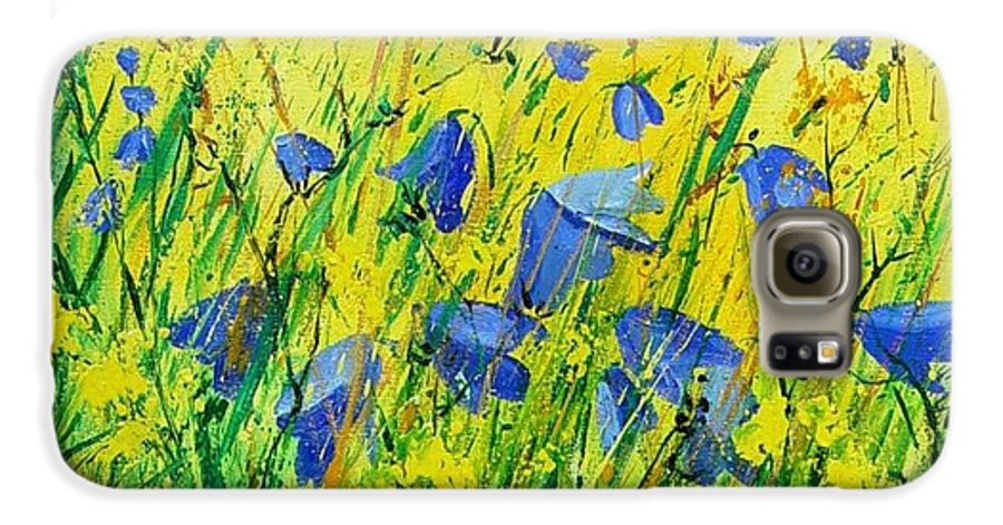 Poppies Galaxy S6 Case featuring the painting Blue Bells by Pol Ledent