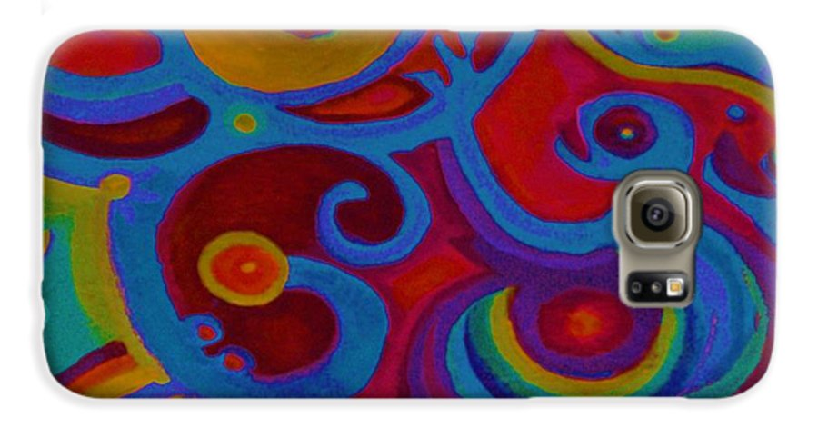 Abstract Galaxy S6 Case featuring the painting Blue Corn Flower by Sidra Myers