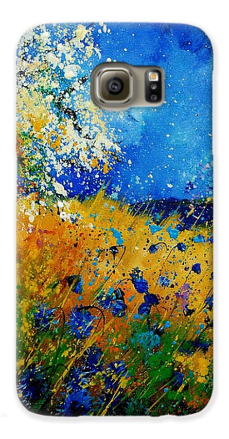 Poppies Galaxy S6 Case featuring the painting Blue Cornflowers 450108 by Pol Ledent