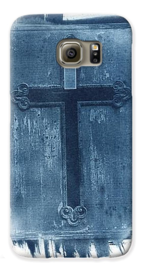 Cyanotype Galaxy S6 Case featuring the photograph Blue Cross by Jane Linders