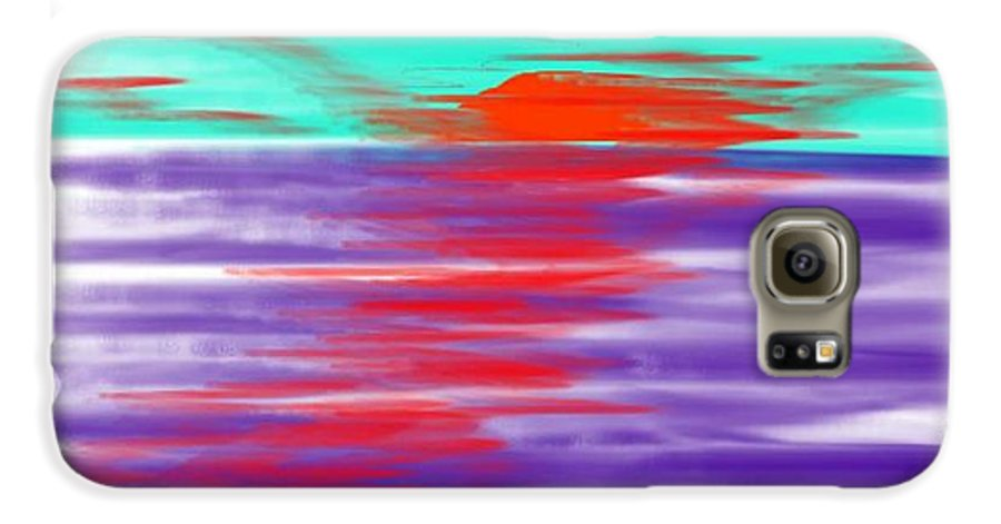 Sky.clouds.sun.sunrays.sunset.sea.water.reflection.slow Waves.deep Water.evening.rest.silence Galaxy S6 Case featuring the digital art Blue Deep Evening by Dr Loifer Vladimir