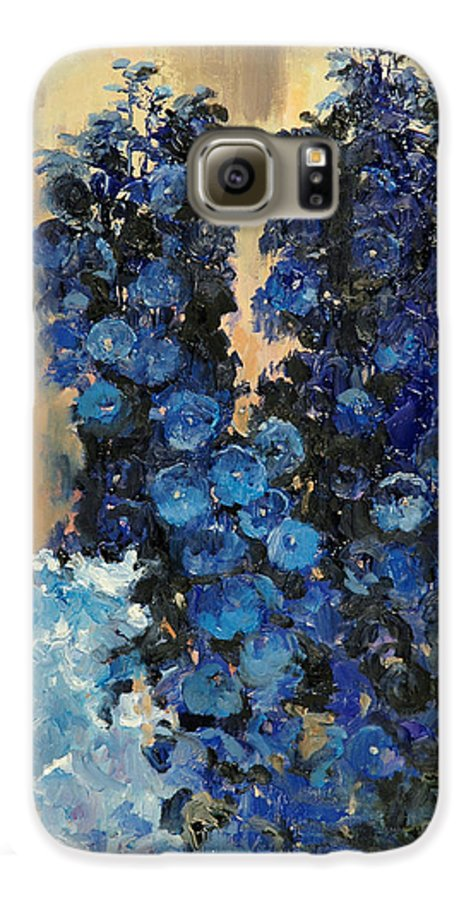 Floral Galaxy S6 Case featuring the painting Blue Delphiniums For Nancy by Glenn Secrest