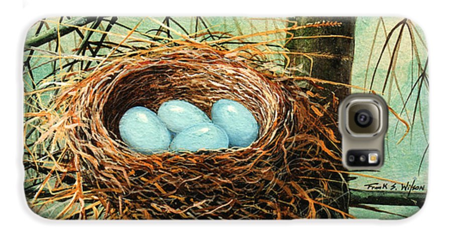 Wildlife Galaxy S6 Case featuring the painting Blue Eggs In Nest by Frank Wilson