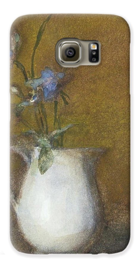 Floral Still Life Galaxy S6 Case featuring the painting Blue Flower by Joan DaGradi