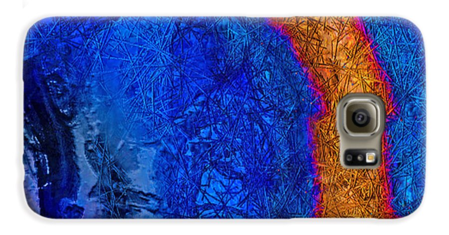Abstract Galaxy S6 Case featuring the painting Blue Force by Dee Flouton