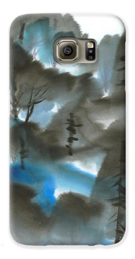 A Forest With A Tint Of Blue. This Is A Contemporary Chinese Ink And Color On Rice Paper Painting With Simple Zen Style Brush Strokes.  Galaxy S6 Case featuring the painting Blue Forest by Mui-Joo Wee