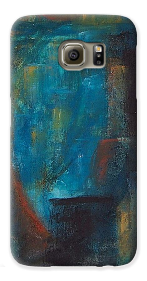Abstract Galaxy S6 Case featuring the painting Blue Grotto by Karen Day-Vath
