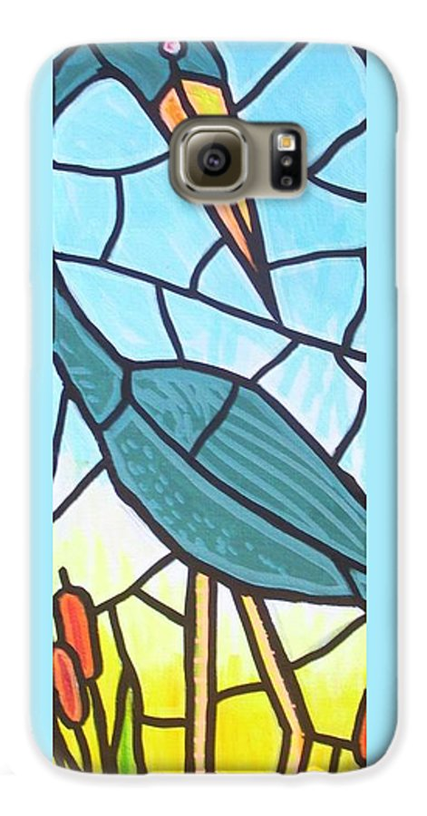 Heron Galaxy S6 Case featuring the painting Blue Heron by Jim Harris