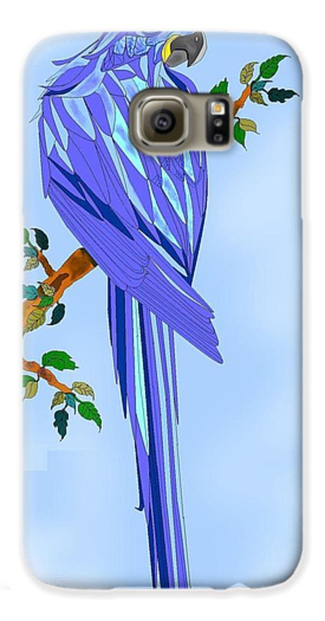 Blue Bird Galaxy S6 Case featuring the painting Blue Hyacinth by Anne Norskog