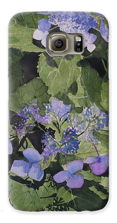Flowers Galaxy S6 Case featuring the painting Blue Lace by Jean Blackmer