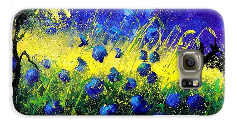 Flowers Galaxy S6 Case featuring the painting Blue Poppies by Pol Ledent