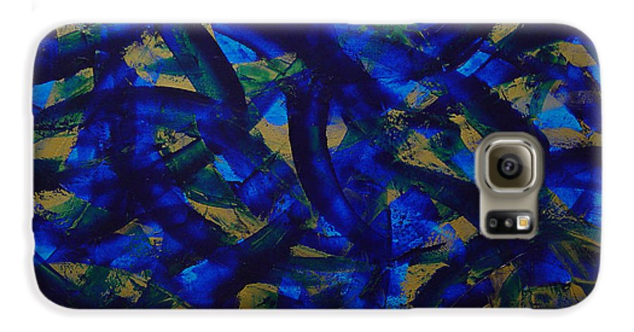 Abstract Galaxy S6 Case featuring the painting Blue Pyramid by Dean Triolo