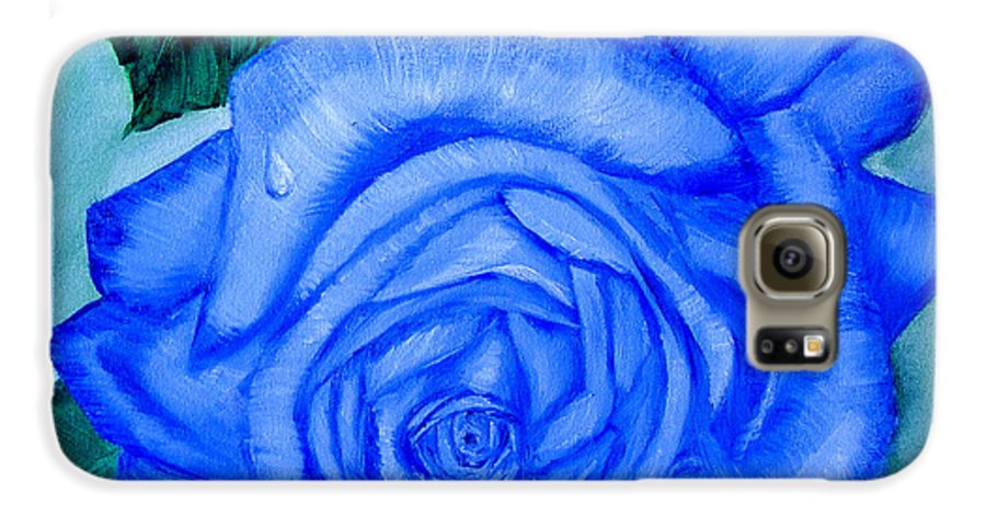 Rose Galaxy S6 Case featuring the painting Blue Rose by Quwatha Valentine