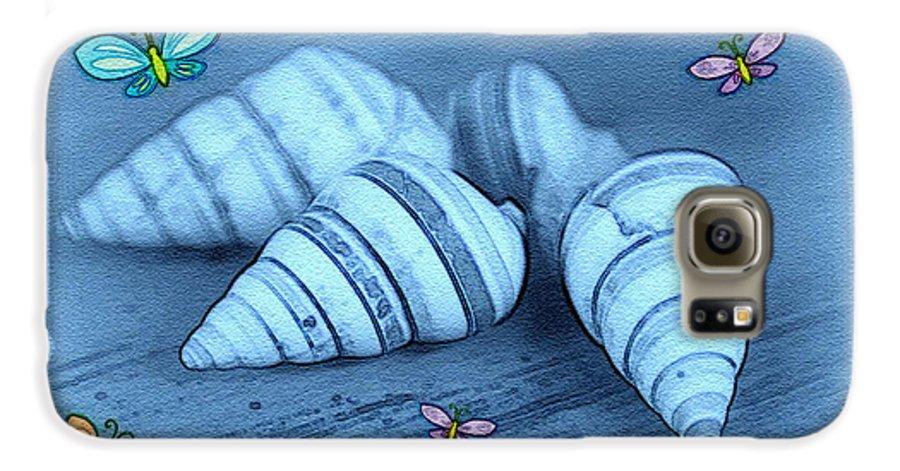 Shell Art Galaxy S6 Case featuring the photograph Blue Seashells by Linda Sannuti
