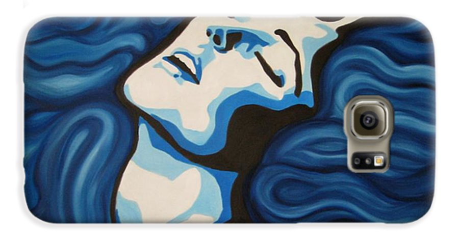 Blue Galaxy S6 Case featuring the painting Blue Shimmers by Jindra Noewi