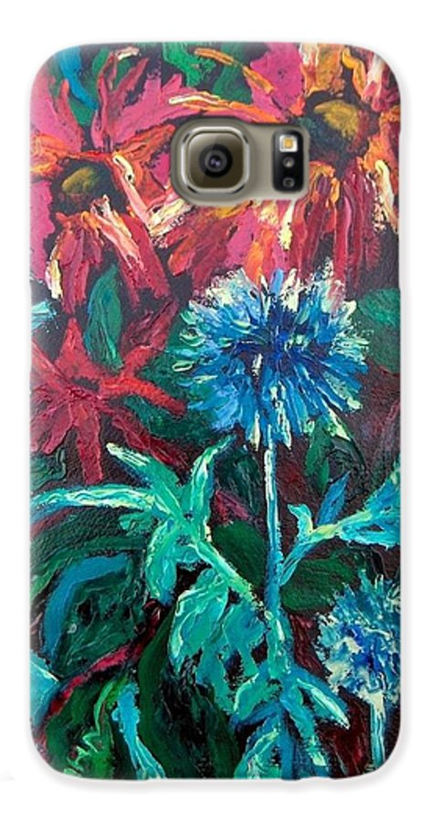 Red Galaxy S6 Case featuring the painting Blue Thistle And Bee Balm by Susan Spohn