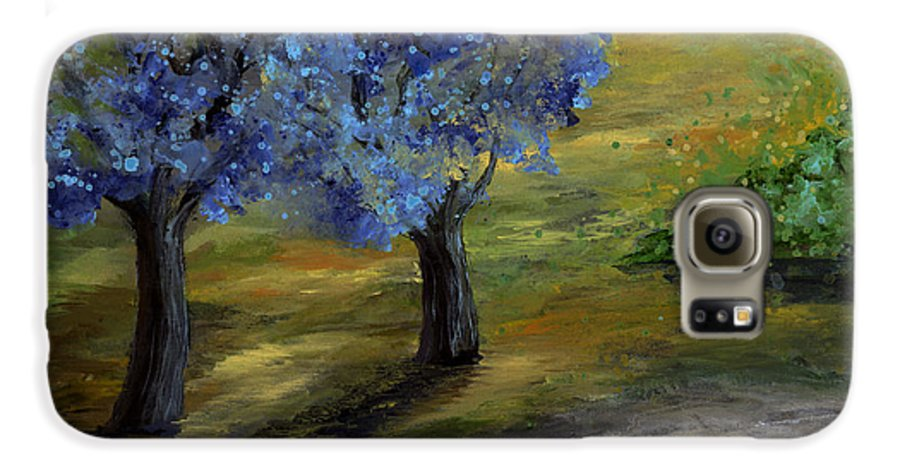 Trees Galaxy S6 Case featuring the painting Blue Trees by Laura Swink