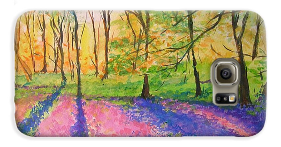Landscape Galaxy S6 Case featuring the painting Bluebell Wood by Lizzy Forrester