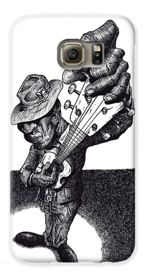 Blues Galaxy S6 Case featuring the drawing Blues Guitar by Tobey Anderson