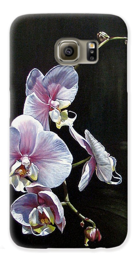 Orchid Galaxy S6 Case featuring the painting Blushing by Joan Garcia