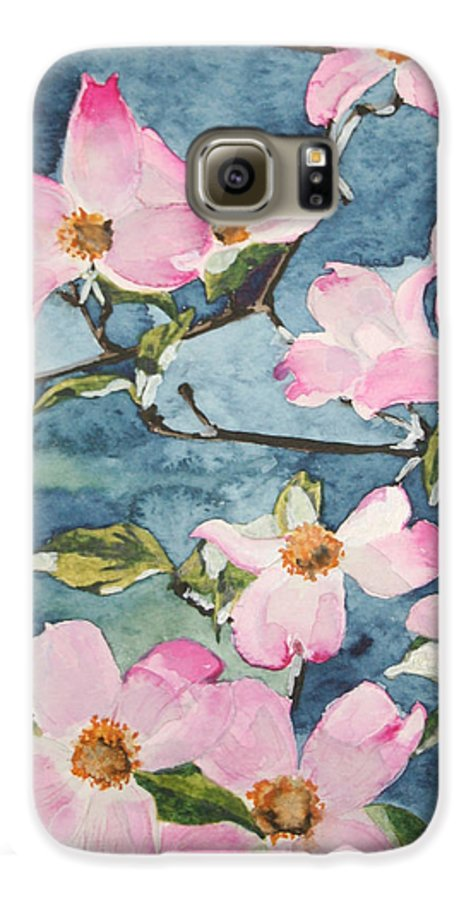Flowers Galaxy S6 Case featuring the painting Blushing Prettily by Jean Blackmer