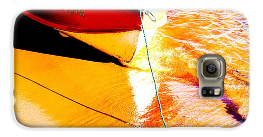 Boat Abstract Yellow Water Orange Galaxy S6 Case featuring the photograph Boat Abstract by Avalon Fine Art Photography