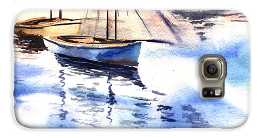 Watercolor Galaxy S6 Case featuring the painting Boat And The River by Anil Nene