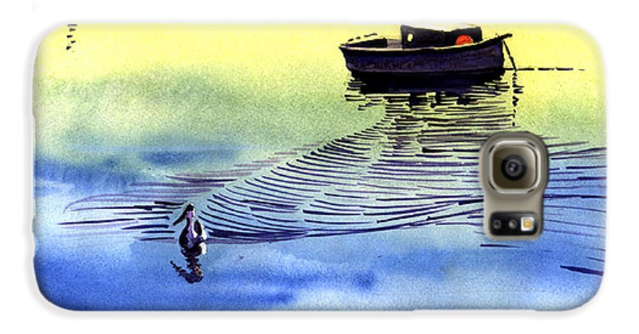 Watercolor Galaxy S6 Case featuring the painting Boat And The Seagull by Anil Nene