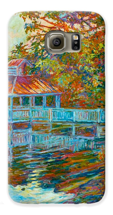 Mountain Lake Galaxy S6 Case featuring the painting Boathouse At Mountain Lake by Kendall Kessler