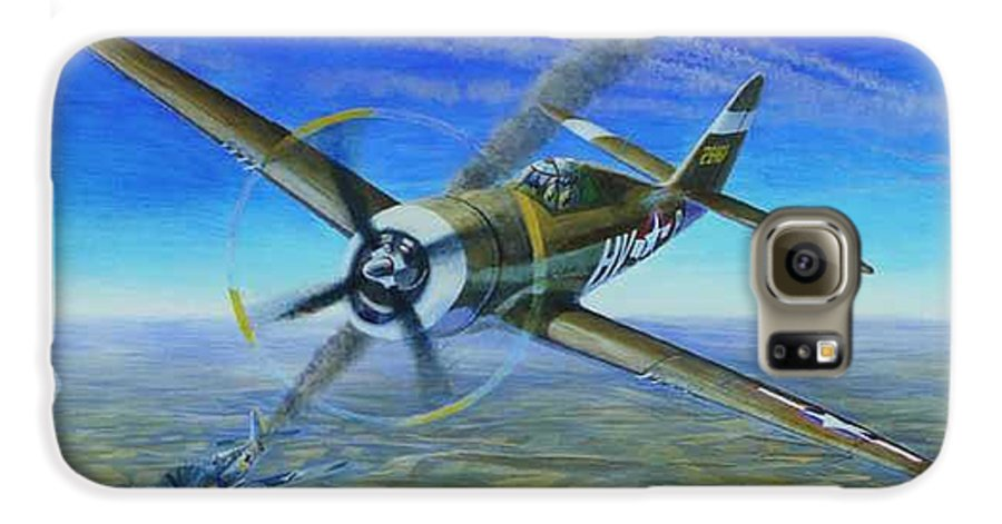 Bob Johnsons P-47 On October 10 Galaxy S6 Case featuring the painting Bob Johnsons Thunderbolt by Scott Robertson